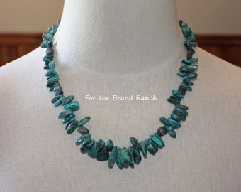 Graduated Natural Freeform Turquoise Necklace