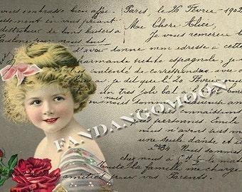 Little Girl Child Red Rose French Script Writing Paris postcard image Antique Digital Instant Download Printable