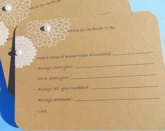 Advice Card for Bride To Be - Bridal Shower Cards - Bridal Shower Games - Marriage Advice - Bridal Shower Invitations KFWCP