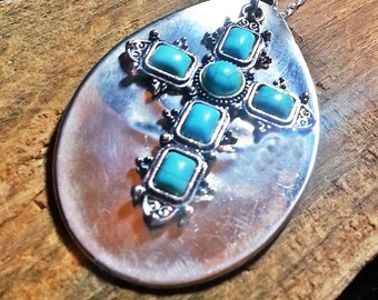 Turquoise cross necklace, spoon jewelry, religious spiritual upcycled silverware, free shipping to US and free gift box