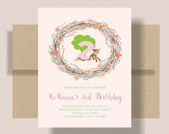 WOODLAND BIRTHDAY INVITATION For Girl Pink Floral   Little Deer Girls Birthday Invitation   2nd Second Birthday Invitation Boho Shabby Chic