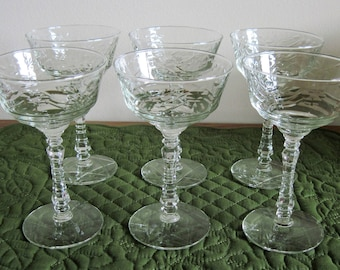 6 Vintage Libbey Rock Sharpe Champagne Glasses In Arctic Rose Pattern