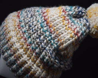 Multi Color Beanie with Pompom