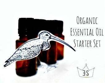 Essential Oil Set - Organic Essential Oil Starter Kit - Essential Oil Sampler - Lavender, Geranium, Peppermint, Orange, Tea Tree