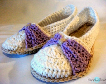 crochet bow slippers