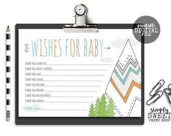 Wishes For Baby Mountain Tribal Mint Orange Gray Arrows Trees Greatest Adventure Clouds Baby Shower Game I Hope You Mommy Daddy 5x7 JPEG DIY