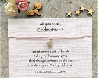 WILL YOU be my GODMOTHER ? Friendship Wish Bracelet Gift Christening Baptism Naming Ceremony, Add a Name & Custom  options
