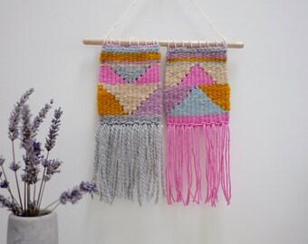 Pastel Weaving, Geometric Weaving, Modern Weaving, Triangle Weaving, Woven Wall Art, Nursery Decor, Modern Nursery, Pastel Wall Art