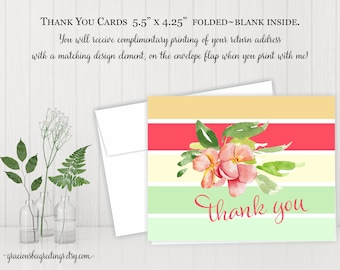 Thank You Cards, Thank You Notes, Thank You Stationery, Personalized Thank You Cards, Birthday, Bridal, Baby Shower, Printable TY601