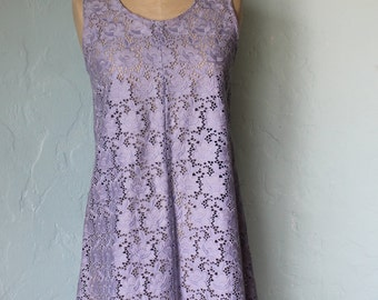 violet cotton lace dress