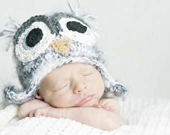 12-24 month gray owl hat with earflaps