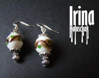 Venetian glass earrings White lampwork beads earrings with gold stripe Wedding earrings Boho style earrings Lampwork glass earrings