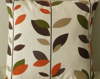 Green Brown and Orange Leaves Pillow Cover 18x18 Green