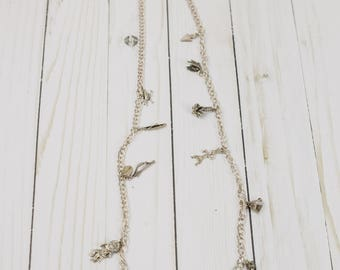 Vintage Native Amereican Indian Sterling Silver Charm Necklace