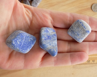 Three Tumbled Lapis Lazuli Stones Not Polished Banded Gemstone Specimen Collectible for Gridwork or Crystal Healing Bags 75 grams