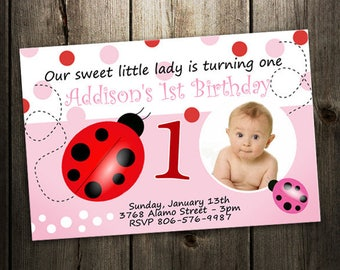 ladybug invitation birthday party invites printable pink polka dot photo card custom baby first 1st baby shower digital file lady bug