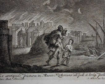 1782 Engraving by Johann Beheim after Pietro Paulo Lanzi. Men Flee a Burning City with Child. Boats, Mythgology. Antique Print.