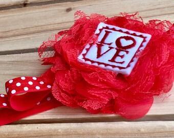 Red Lace Shabby Chic Flower Headband, Feltie/Applique' Headband, Newborn, Infant, Baby, Baby Girl, Toddler and Adult Headband, Photo Prop
