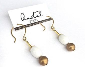 Simple White & gold vintage dangle earrings.