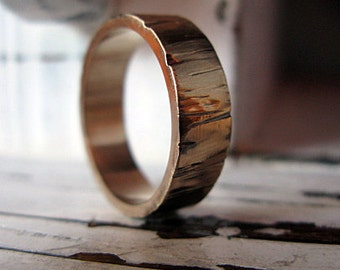 14K Mens Wedding Band Unique Mens Wedding Band Mens Wedding Ring Bark Wedding Band Mens Wedding Rings Viking Wedding Ring Rustic Man Wedding