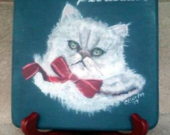 Portrait animalier, portrait animalier sur disque d'affichage, tableau mémorial pour animaux de compagnie, petit disque avec portrait d'animal, chevalet avec portrait d'animal, Mémorial de chat