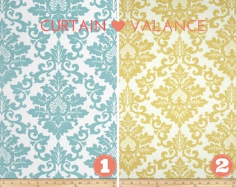 Curtain Valance - Window Topper - Kitchen - Bedroom - Bath - Straight or Curved-LINED-Valance, Aqua or Safron Yellow Premier Prints Fabric