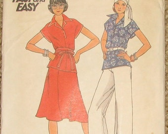 Kimono Sleeve Top, Flared Skirt, Pants, Obi Sash 1970s Vintage Sewing Pattern BUTTERICK 4124, Bust 31.5