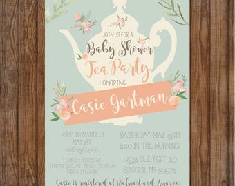 Baby Shower Invitation Baby Girl Rustic Tea Party Floral