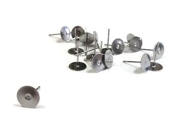 Stainless steel, round, 8 mm, pad, glue on, flat back, earrings, stud earring, finding, DIY, jewellery, supply,supplies