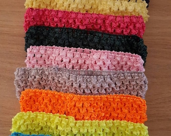 Set of 10 soft headbands in crochet for baby and girl under 6, tutus, dresses, hair accessory