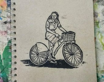 Large Block Print Recycled Blank Book - Bicycle