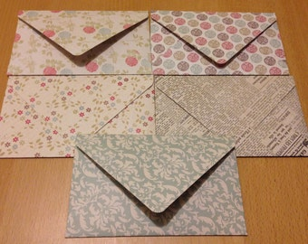 HANDMADE mixed VINTAGE styled patterned envelopes - pack of 5