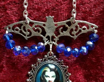 LILY MUNSTER 'The Munsters'  Bat & Crystal Pendant Necklace