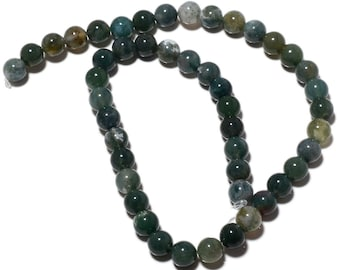 Moss Agate Round Beads, Natural Moss Agate beads, 6mm Beads, 15 Inch Strand, SKU-MM47/2