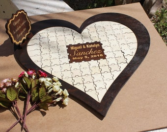 Jigsaw puzzle piece guestbook set - Personalised Jigsaw puzzle guest book, wood sign - Unique alternative wooden wedding guest book puzzle