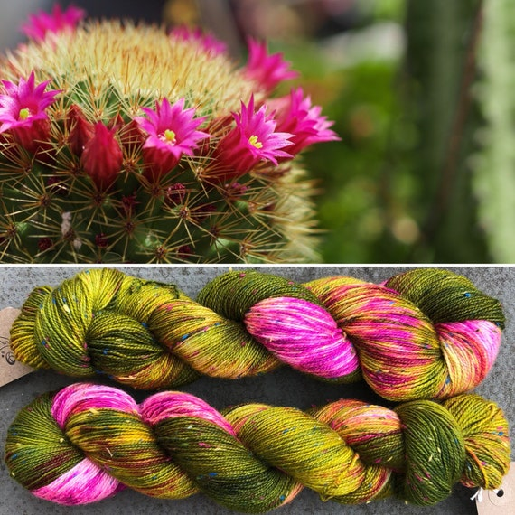Flowering Cactus Donegal Sock, indie dyed merino yarn with multicolour neps