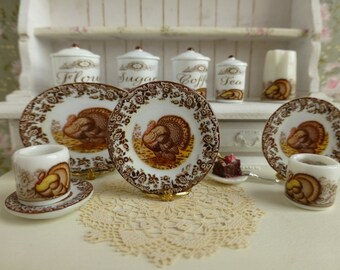 Thanksgiving Brown Turkey Dollhouse Plate 1:12 Scale