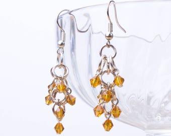 Grappe longue boucles d'oreilles - or jaune perle cascade argent boucles d'oreilles | Boucles d'oreilles maille de la chaîne | Boucles d'oreilles chandelier perle et anneau