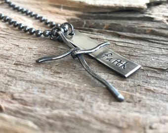 Christian Jewelry, Religious Necklace, Faith Jewelry, Oxidized Sterling Silver, Rustic Cross Necklace, Personalized Gift, Father's Day