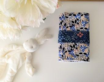 Set of 2 Blue botanical Burp Cloths