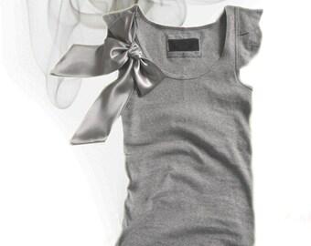 Gray bow top/Short sleeve new retro/Tank knit women/Removable bow