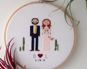 Custom Bride and Groom Wedding Cross Stitch