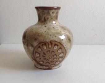 Vintage Modern Art Pottery Vase.  1960's Weed Pot.   Spiral Shell Design.
