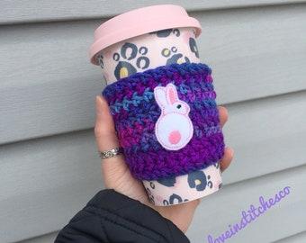 Easter Bunny coffee sleeve, travel mug cozy, mug sweater, Bunny coffee cozy, Easter Basket Stuffer