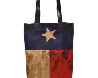 Vintage Addiction Texas Pride Flag Tote Bag Purse Recycled Military Canvas