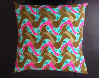 "African print cushion, 16"" - colourful cushion cover, tribal, batik, ethnic, handmade"