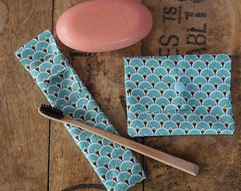 SOAP case + toothbrush case, coated cotton, matching green fan pattern