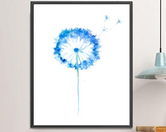 Blue Painting Dandelion Watercolor Painting, Watercolor Flower Print Dandelion Poster, Dandelion Art, Home Wall Decor  - 161