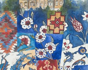 Underground Pattern: Archival Print  of Original Watercolor Painting