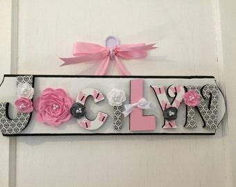 Custom Kids Name Sign - Nursery Wall Letters Name Sign - Custom Children's Shabby Chic Name Plaque 7 Letters